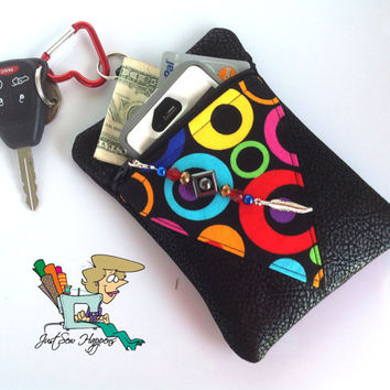 Black Vegan Leather with Geometric Print Inset Belt Loop Pouch Phone Case  with Beaded Zipper Pull