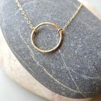 Hammered Jewelry Necklace, Hammered Circle Necklace Gold Filled Necklace Karma Necklace Gold Circle Minimal Boho Jewelry Mothers Day Jewelry