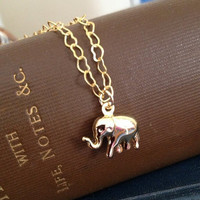 Gold Elephant Necklace Heart Shaped Chain Boho Yoga Jewelry UK
