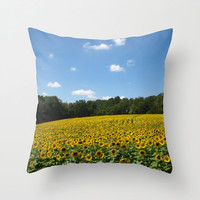 Sunflower Pillow, Country Pillow, Floral Pillowcase, Nature Pillow, Blue and Yellow Pillow, Yellow Flower Pillow, 16X16 pillow cover, 18X18