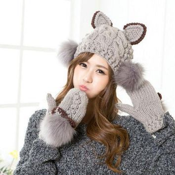 MDIG9GW Cute Women Warm Knitted Hat Devil Cat Ear Horns Winter Cap Bobble Fur Head Beanie Gloves (price is just for 1pc, goves or hat)