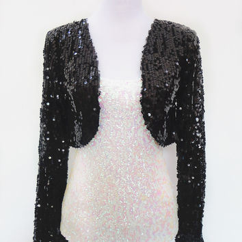 Women Club-wear Sparkly Sequin Long Sleeve Sexy Shrug