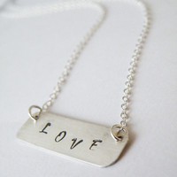 Love Necklace Hand Stamped Necklace Personalized Jewelry Sterling Silver Hand Stamped Jewelry by SteamyLab