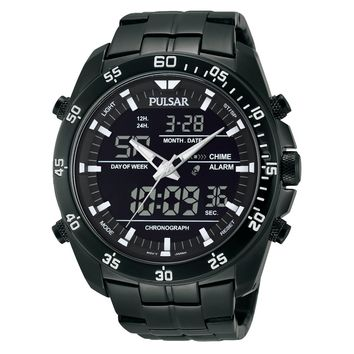 Pulsar Men's Digital & Analog Black Ion Finish Stainless Steel Chronograph Watch