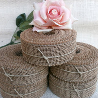 "3 Rolls Natural Burlap Ribbon 3"" wide 1.7 yds Wedding Do It Yourself Country Rustic Decor"