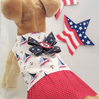 Ship Ahoy Pooch  Red White & Blue Sailboat by bowwowWOWBoutique