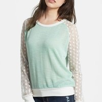 Olivia Moon Sheer Sleeve Sweater