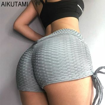 High Waisted Gym Sport Shorts for Women Yoga Shorts Texture Fabrics Bandage Fitness Shorts Active Wear Tights Girl Push Up Hip