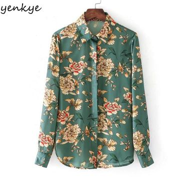 New Women Printed Satin Blouse Long Sleeve Turn-down Collar Autumn Blouses Casual Lady Shirts