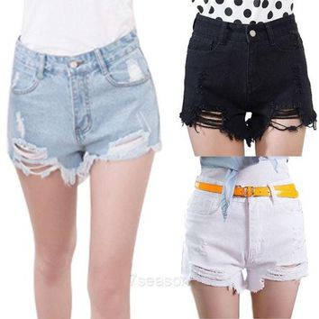 CREYUG3 Women New Summer Fashion High Waist Sexy Denim Shorts Hole Ripped Jeans Shorts 7_S SV015846