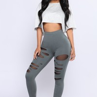 Camille Mesh Cut Out Leggings - Olive
