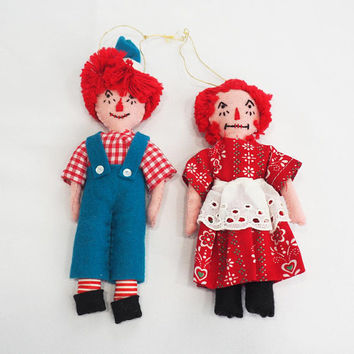 PAIR of Vintage Hand Made Raggedy Ann and Andy Rag Doll Felt Christmas Ornaments