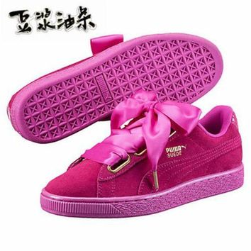 DCCKIJ2 Puma Suede Basket Heart Skate Shoes Pink