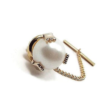 Faux Pearl Tie Tack, Vintage Tie Tack, Light Off White Cream Gold Tone, Gentleman Jewelry, Retro 1980s 80s, Formal Mens