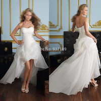 Sweetheart Beading Front Short Back Long White Wedding Dresses