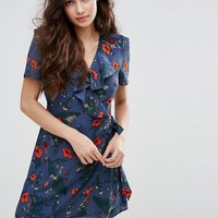Fashion Union Wrap Front Dress In Poppy Print at asos.com