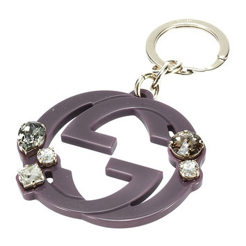 Gucci Purple Plexiglass Interlocking GG Logo Rhinestone Key Chain Ring