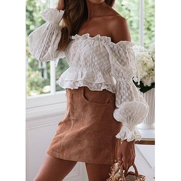 Crop Top Women's Ruffle Edge Off Shoulder Solid Lace Long Sleeve