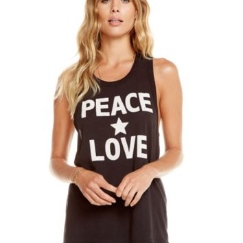 "Women's Chaser Brand ""Peace Love Star"" Graphic Tank"