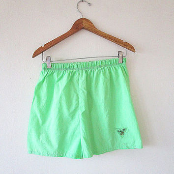 Vintage 80s/90s Neon Green PALM TREE Surf Obvious Short Shorts Sz L