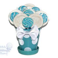 Blue and White Lollipop Arrangement, OOAK Candy Arrangement, Candy Centerpiece, Blue, White, Butterfly, Candy Buffet, Birthday