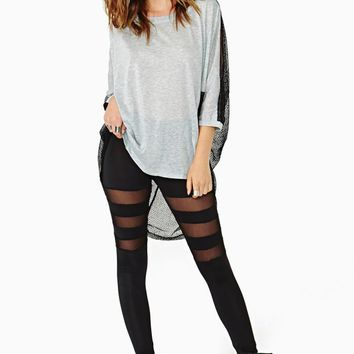 Black Mesh Cut Out Leggings