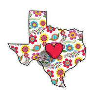 Floral Texas State Decal - Colorful Flower TX Bumper Sticker Red Heart Cute State Laptop Decal Boho Hippie Wall Decal Texas Car Sticker