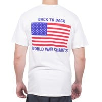 Back to Back World War Champs Pocket Tee in White by Full Time American