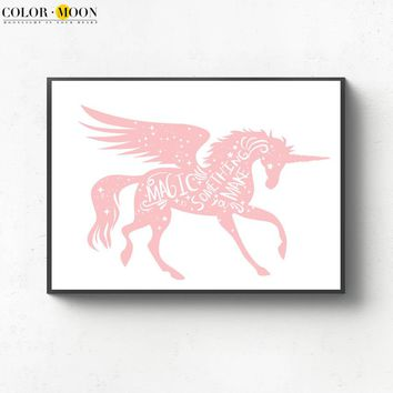 COLORMOON Painting Pink Unicorn Nordic Poster Wall Art Canvas Animal Posters And Prints Wall Pictures For Living Room Decoration