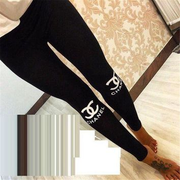 ONETOW CHANEL Winter Alphabet Print Sports Women's Fashion Leggings