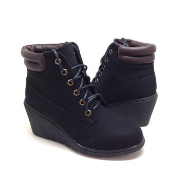 Black Suede Short Boot with Rubber Wedge