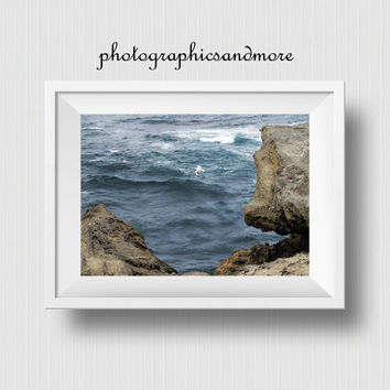 Instant Download, Photo, 4 JPG Files, 4x6, 8x10, 12x16, A3, Coastal Photography, Wall Art, Home Decor, Blue, Ocean, Cliffs, Seagull, Flying