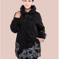 2015 Women Trench Coat plus size 4XL 5XL hooded Collar print loose Trench Coat For Fashion autumn Coat Women N545
