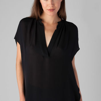 Vince Cap Sleeve Silk Popover Blouse in Black