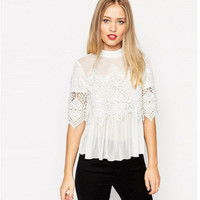 Lace Chiffon Patchwork See Through Stylish Women's Casual Shirt [6339035841]