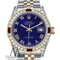 Unisex Rolex 36mm Datejust 2 Tone Blue Color Roman Numeral Dial Ruby & Diamond