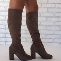 Walking On A Dream Block Heel Boots in Taupe