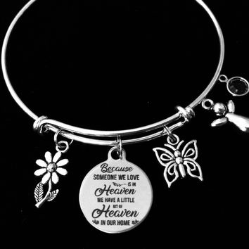 Guardian Angel Birthstone Jewelry Someone We Love Is In Heaven Memorial Expandable Charm Bracelet Adjustable Wire Bangle Silver Memorial One Size Fits All Gift
