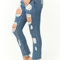 Distressed Low-Rise Ankle Jeans