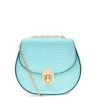 Mint Green Textured Chain Across Body Bag