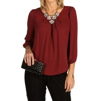 Sale-burgundy Faux Button Back Top