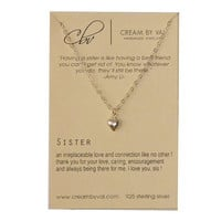 Sister Necklace -Love You Sis Necklace Dainty Delicate Necklace Wedding Gift Idea For Sister Jewelry With Meaningful Message Silver Heart
