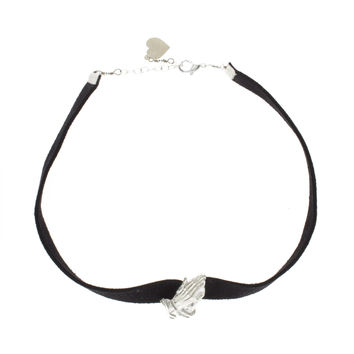 Prayer Hands Suede Choker