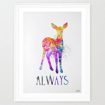 Harry Potter Always Watercolor illustration Art Print,Nursery/Kids Art Print,Wedding,Birthday Gift, #293