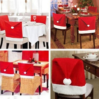 1Pcs Red Santa Hat Dining Chair Seat Covers Xmas Christmas Party Decoration (Color: Red) = 1946164740