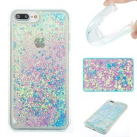 iPhone 7/7 plus Pacyer Case Bling Glitter 3D Liquid Floating Heart TPU Protective Hybrid