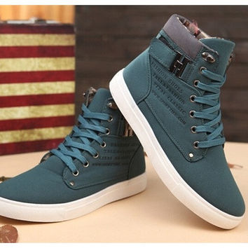 Fashion Mens Korean Style Sneakers Comfortable Casual Canvas Shoes Warm High-top Boots Black Khaki Brown Green [8833486796]