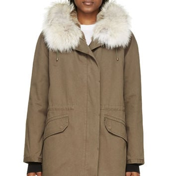 Army By Yves Salomon Green Coyote And Rabbit-fur Parka