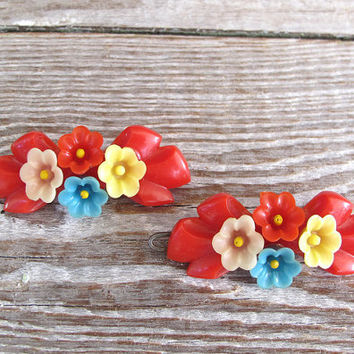 2 vintage hair barrettes 1950s red ribbons by KatyBitsandPieces