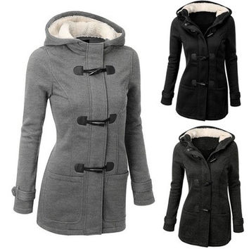 Hot Sale Wollen Women Fashion Hoodied Warm Coat Black/ Gray/ Dark gray [9222488068]